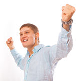Portrait of young man celebrating Stock Images