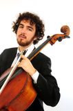 Portrait of  young man with  cello Stock Image
