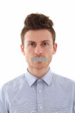Portrait of young man censored Stock Photo