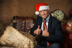 Portrait of young man in Christmas interior Royalty Free Stock Images