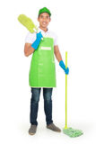Portrait of young man with cleaning equipment Stock Photography
