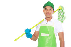 Portrait of young man with cleaning equipment Royalty Free Stock Photography