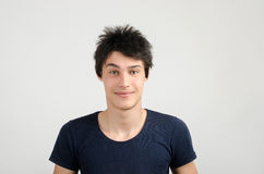 Portrait of a young man with crazy hair style. Bad hair cut day. Royalty Free Stock Photos