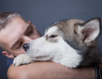 Portrait of a young man with a dog Stock Photography