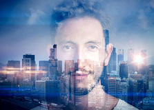 Portrait of  young man. Double exposure with man Royalty Free Stock Image