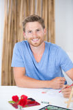 Portrait young man drawing still life Royalty Free Stock Image