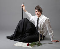 Portrait young man enamoured love Trumpet Stock Photography