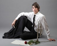 Portrait young man enamoured love Trumpet Royalty Free Stock Photos