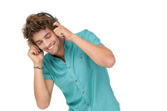 Portrait of a young man enjoying music Royalty Free Stock Photos
