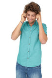 Portrait of a young man enjoying music Stock Image