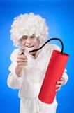 Portrait of a young man in fancy dress. On blue background Royalty Free Stock Image