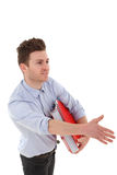 Portrait of young man with folders Royalty Free Stock Photography