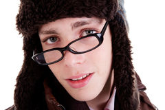 Portrait of a young man with glasses Stock Image