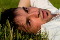 Portrait of Young man in grass Stock Image