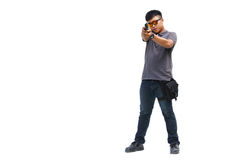 Portrait Of Young Man With Gun On White Background Royalty Free Stock Images