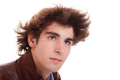 Portrait of a young man with hair on the wind Royalty Free Stock Photo