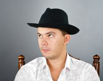 Portrait of young man in a hat Royalty Free Stock Photography