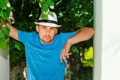 Portrait of a young  man in a hat outdoors Royalty Free Stock Photos