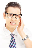 Portrait of a young man having a toothache Stock Images
