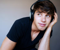 Portrait of young man with headphones Royalty Free Stock Photo