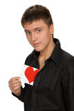 Portrait of young man with heart. Stock Photos