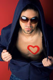 Portrait of Young Man with  heart painted Royalty Free Stock Photos