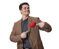 Portrait of a young man with heart shape Royalty Free Stock Image