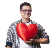Portrait of a young man with heart shape Stock Photography