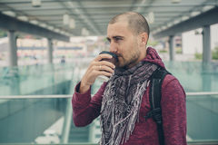 Portrait of a young man in a hipster fashion clothes in Hong Kon Royalty Free Stock Images