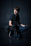 Portrait of young man and his dog Royalty Free Stock Images