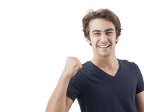Portrait of a young man with his fist raised Stock Image