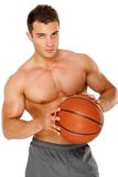Portrait of a young man holding the ball Royalty Free Stock Photography