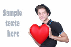 Portrait of a young man holding heart Stock Photography