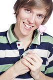 Portrait of a young man holding heart shape toy Stock Photography