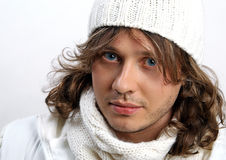 Portrait of young man in knitted hat Stock Photography