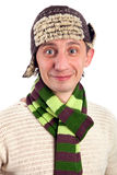 Portrait of young man in knitted hat and scarf Royalty Free Stock Photography