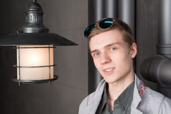 Portrait of a young man with a lantern Royalty Free Stock Photography