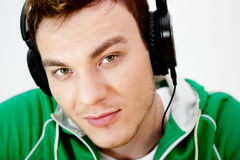 Portrait of a young man listen music Royalty Free Stock Photo