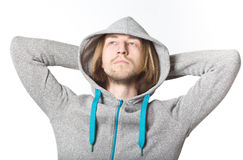 Portrait of young man with long blond hair Stock Photo