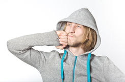 Portrait of young man with long blond hair Royalty Free Stock Photos