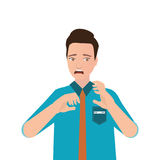 Portrait of young man looking shocked scared . royalty free illustration