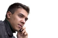 Portrait of a young man with mobile phone royalty free stock image