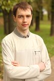 Portrait of young man outdoor in summer Royalty Free Stock Photo