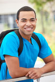Portrait young man outdoors. Smiling to camera stock image