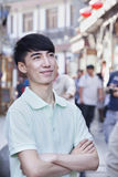 Portrait of Young Man Outdoors in Beijing Royalty Free Stock Photos
