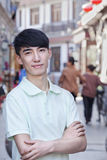 Portrait of Young Man Outdoors in Beijing Stock Photo