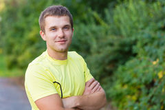 Portrait of a young man outdoors Stock Photos