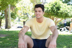 Portrait of a young man in a park Stock Photo