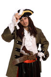 Portrait of young man in a pirate costume. With pistol royalty free stock photo