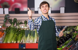 Portrait of young man posing in grocery. Portrait of young male posing in grocery and smiling Royalty Free Stock Photography